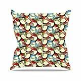 "KESS InHouse AR2001AOP03 18 x 18-Inch ""Amy Reber Chickadees Red Blue"" Outdoor Throw Cushion - Multi-Colour"