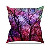 """KESS InHouse SC2199AOP03 18 x 18-Inch """"Suzanne Carter Starry Night Purple Pink"""" Outdoor Throw Cushion - Multi-Colour"""