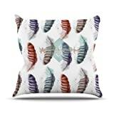 "KESS InHouse LM1015AOP03 18 x 18-Inch ""Lydia Martin Wildfree Feather White"" Outdoor Throw Cushion - Multi-Colour"