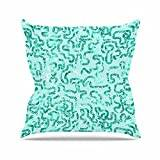 """KESS InHouse AS1050AOP03 18 x 18-Inch """"Anneline Sophia Squiggles in Teal Green Abstract"""" Outdoor Throw Cushion - Multi-Colour"""
