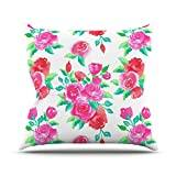 """KESS InHouse AS1027AOP03 18 x 18-Inch """"Anneline Sophia Pink Roses Magenta Floral"""" Outdoor Throw Cushion - Multi-Colour"""