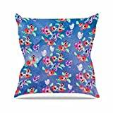 "KESS InHouse ZM2030AOP03 18 x 18-Inch ""Zara Martina Mansen Signs Of Spring Blue Red"" Outdoor Throw Cushion - Multi-Colour"