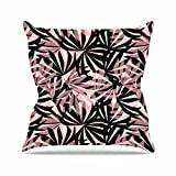 "KESS InHouse AR2013AOP03 18 x 18-Inch ""Amy Reber Black And Pink Palms Leaves Pattern"" Outdoor Throw Cushion - Multi-Colour"