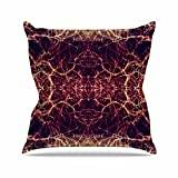 "KESS InHouse PS1006AOP03 18 x 18-Inch ""Pia Schneider Burning Roots I+VIII Maroon Abstract"" Outdoor Throw Cushion - Multi-Colour"