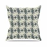"KESS InHouse AR2002AOP03 18 x 18-Inch ""Amy Reber White Palm Green Pattern"" Outdoor Throw Cushion - Multi-Colour"