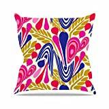 "KESS InHouse AR2005AOP03 18 x 18-Inch ""Amy Reber Abstract Bouquet Pink Blue"" Outdoor Throw Cushion - Multi-Colour"