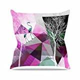 "KESS InHouse PS1004AOP03 18 x 18-Inch ""Pia Schneider FLAMINGO P22 Pink Geometric"" Outdoor Throw Cushion - Multi-Colour"