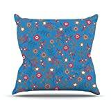 """KESS InHouse MD1008AOP03 18 x 18-Inch """"Michelle Drew Meadow Navy Paisley"""" Outdoor Throw Cushion - Multi-Colour"""