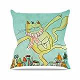 "KESS InHouse CP1045AOP03 18 x 18-Inch ""Carina Povarchik Dancing Cat In The City Blue Yellow"" Outdoor Throw Cushion - Multi-Colour"