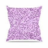 """KESS InHouse AS1052AOP03 18 x 18-Inch """"Anneline Sophia Squiggles in Purple Lavender"""" Outdoor Throw Cushion - Multi-Colour"""