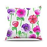 """KESS InHouse AS1026AOP03 18 x 18-Inch """"Anneline Sophia Anemones Pink Flowers"""" Outdoor Throw Cushion - Multi-Colour"""