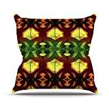 """KESS InHouse AL2007AOP03 18 x 18-Inch """"Anne LaBrie Tribal Marsala Red Yellow"""" Outdoor Throw Cushion - Multi-Colour"""