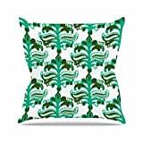 "KESS InHouse AR2010AOP03 18 x 18-Inch ""Amy Reber Chandelier Ikat Green White"" Outdoor Throw Cushion - Multi-Colour"