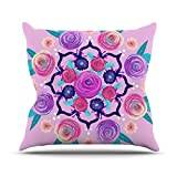 """KESS InHouse AS1031AOP03 18 x 18-Inch """"Anneline Sophia Expressive Blooms Mandala Pink Floral"""" Outdoor Throw Cushion - Multi-Colour"""