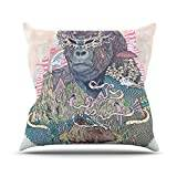 "KESS InHouse MM2027AOP03 18 x 18-Inch ""Mat Miller Ceremony Fantasy Gorilla"" Outdoor Throw Cushion - Multi-Colour"