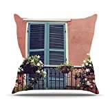 """KESS InHouse SC1092AOP03 18 x 18-Inch """"Sylvia Cook New Orleans Balcony Pink Blue"""" Outdoor Throw Cushion - Multi-Colour"""