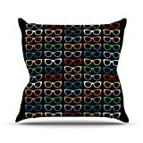 "KESS InHouse PM1019AOP03 18 x 18-Inch ""Project M Sun Glasses at Night"" Outdoor Throw Cushion - Multi-Colour"