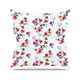"KESS InHouse ZM2029AOP03 18 x 18-Inch ""Zara Martina Mansen Spring Flowers And Birds White Red"" Outdoor Throw Cushion - Multi-Colour"