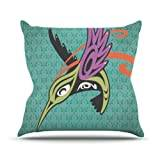 "KESS InHouse LG1003AOP03 18 x 18-Inch ""Louie Gong Hummingbird and Friends"" Outdoor Throw Cushion - Multi-Colour"