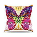 """KESS InHouse AL2001AOP03 18 x 18-Inch """"Anne LaBrie Butterfly Spirit Pink Yellow"""" Outdoor Throw Cushion - Multi-Colour"""