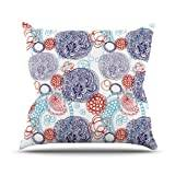 """KESS InHouse AS1008AOP03 18 x 18-Inch """"Anneline Sophia Lacy Ying Yang Blue"""" Outdoor Throw Cushion - Multi-Colour"""