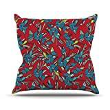 """KESS InHouse MD1003BOP03 18 x 18-Inch """"Michelle Drew Paper Leaf Red"""" Outdoor Throw Cushion - Multi-Colour"""