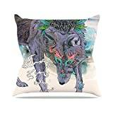 "KESS InHouse MM2025AOP03 18 x 18-Inch ""Mat Miller Journeying Spirit Wolf"" Outdoor Throw Cushion - Multi-Colour"