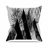 "KESS InHouse PS1008AOP03 18 x 18-Inch ""Pia Schneider TREES V2 Black White Grey"" Outdoor Throw Cushion - Multi-Colour"