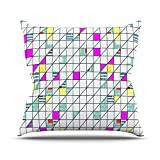 """KESS InHouse MD1012AOP03 18 x 18-Inch """"Michelle Drew Squares Abstract Geometry"""" Outdoor Throw Cushion - Multi-Colour"""
