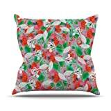 "KESS InHouse EM1023AOP03 18 x 18-Inch ""Akwaflorell Flying Tulips Red Green"" Outdoor Throw Cushion - Multi-Colour"