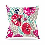 """KESS InHouse CW1013AOP03 18 x 18-Inch """"Crystal Walen Mona Brush Stroke - Floral Painting"""" Outdoor Throw Cushion - Multi-Colour"""