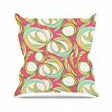 "KESS InHouse AR2009AOP03 18 x 18-Inch ""Amy Reber Cirle Sings Pink Yellow"" Outdoor Throw Cushion - Multi-Colour"