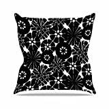 "KESS InHouse AR2015AOP03 18 x 18-Inch ""Amy Reber Black Circle Abstract White Pattern"" Outdoor Throw Cushion - Multi-Colour"