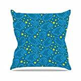 """KESS InHouse YJ1008AOP03 18 x 18-Inch """"Yenty Jap Starry And Cloudy Night Blue Yellow"""" Outdoor Throw Cushion - Multi-Colour"""
