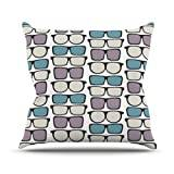 """KESS InHouse MD1002AOP03 18 x 18-Inch """"Michelle Drew Spectacles Geek Chic"""" Outdoor Throw Cushion - Multi-Colour"""