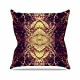 "KESS InHouse PS1009AOP03 18 x 18-Inch ""Pia Schneider Burning Roots IV Maroon Celestial"" Outdoor Throw Cushion - Multi-Colour"