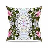 "KESS InHouse PS1031AOP03 18 x 18-Inch ""Pia Schneider Roses l Pink Green"" Outdoor Throw Cushion - Multi-Colour"