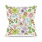 """KESS InHouse HH1024AOP03 18 x 18-Inch """"Holly Helgeson Wildflower White"""" Outdoor Throw Cushion - Multi-Colour"""