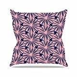 "KESS InHouse AR2017AOP03 18 x 18-Inch ""Amy Reber Pink Daisy Blue Pattern"" Outdoor Throw Cushion - Multi-Colour"