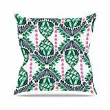"KESS InHouse AR2019AOP03 18 x 18-Inch ""Amy Reber Tassles Green Line Illustration"" Outdoor Throw Cushion - Multi-Colour"