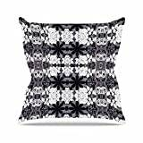 "KESS InHouse SC2095AOP03 18 x 18-Inch ""Suzanne Carter Lacey Black Grey"" Outdoor Throw Cushion - Multi-Colour"