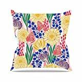 "KESS InHouse AR2004AOP03 18 x 18-Inch ""Amy Reber Pretty Bouquet Yellow Floral"" Outdoor Throw Cushion - Multi-Colour"