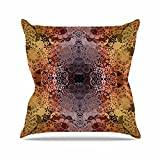 "KESS InHouse PS1014AOP03 18 x 18-Inch ""Pia Schneider Floral Fall Pattern Maroon"" Outdoor Throw Cushion - Multi-Colour"