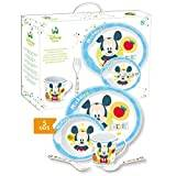 STOR 30479 Disney Baby Mickey 5-Piece Melamine Tableware Set with Flat Plate, Bowl, Cup, Fork and Spoon, Blue