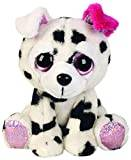 Suki Gifts Lil Peepers Fun Dixie Dalmantian with Pink Ear Plush Toy with Pink Sparkle Accents (Small, White/Black/Pink)