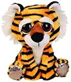 Suki Gifts Lil Peepers Fun Cheddar Tiger Plush Toy with Silver Sparkle Accents (Small, Brown/Black/Black/White)