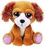 Suki Gifts Lil Peepers Fun Molly Spaniel Dog Plush Toy with Pink Sparkle Accents (Small, Brown)