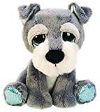Suki Gifts Lil Peepers Fun Skyler Schnauzer Dog Plush Toy with Blue Sparkle Accents (Small, White/Grey)