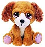 Suki Gifts Lil Peepers Fun Molly Spaniel Dog Plush Toy with Pink Sparkle Accents (Medium, Brown)