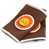 Ah Goo Baby Kneekers Knee Pads for Crawling Babies (Happy Sunshine in Brown/Small)